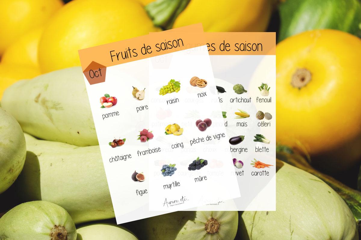 Fiches mémo des fruits et légumes du mois de octobre à télécharger