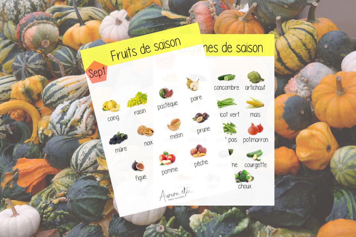 Fiches mémo des fruits et légumes du mois de septembre à télécharger