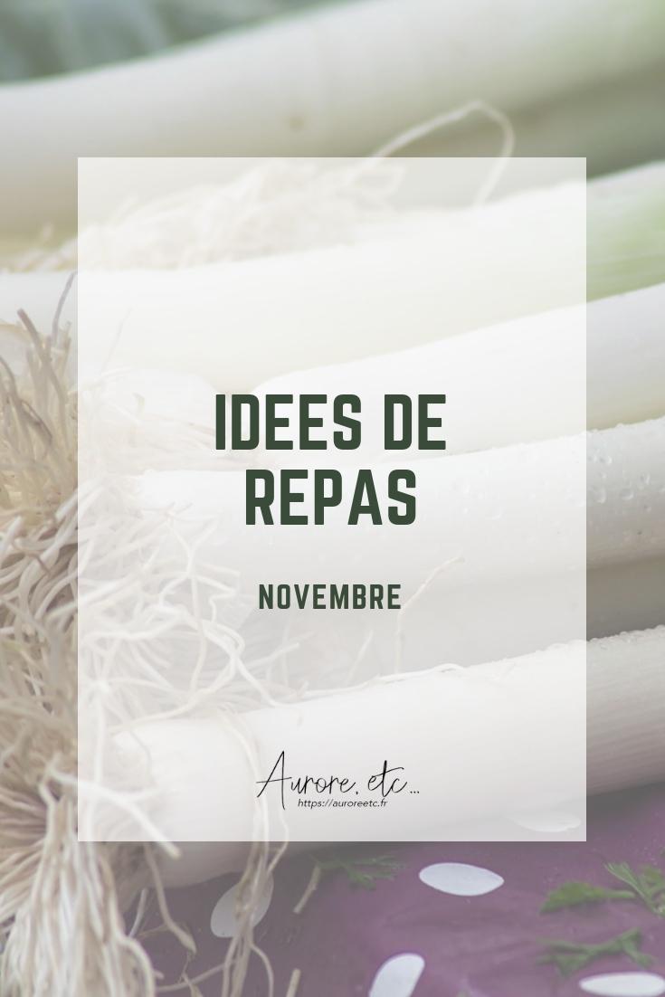 Idées de repas pour le mois de novembre avec fiches mémo des fruits et légumes du mois à télécharger