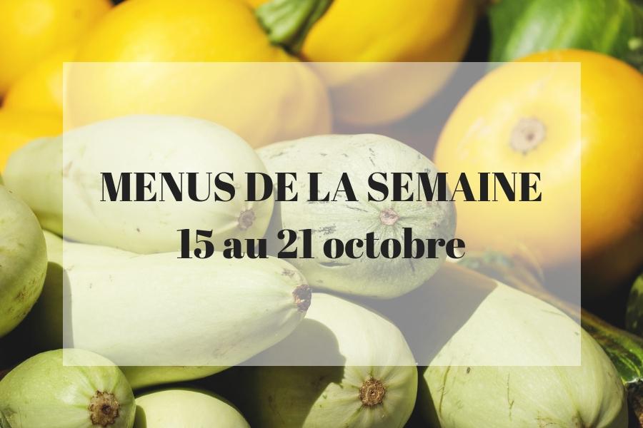 Planning des menus du 15 au 21 octobre
