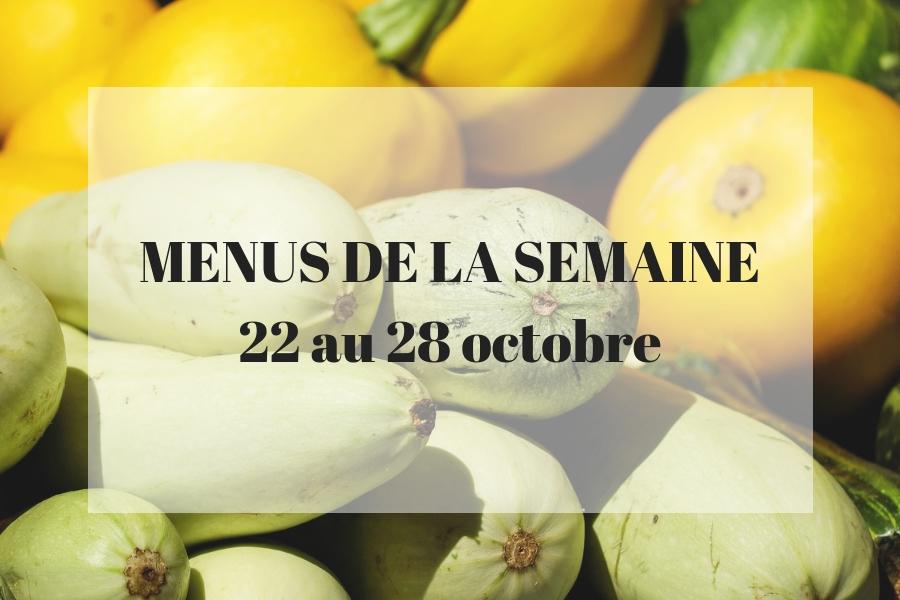 Planning des menus du 22 au 28 octobre
