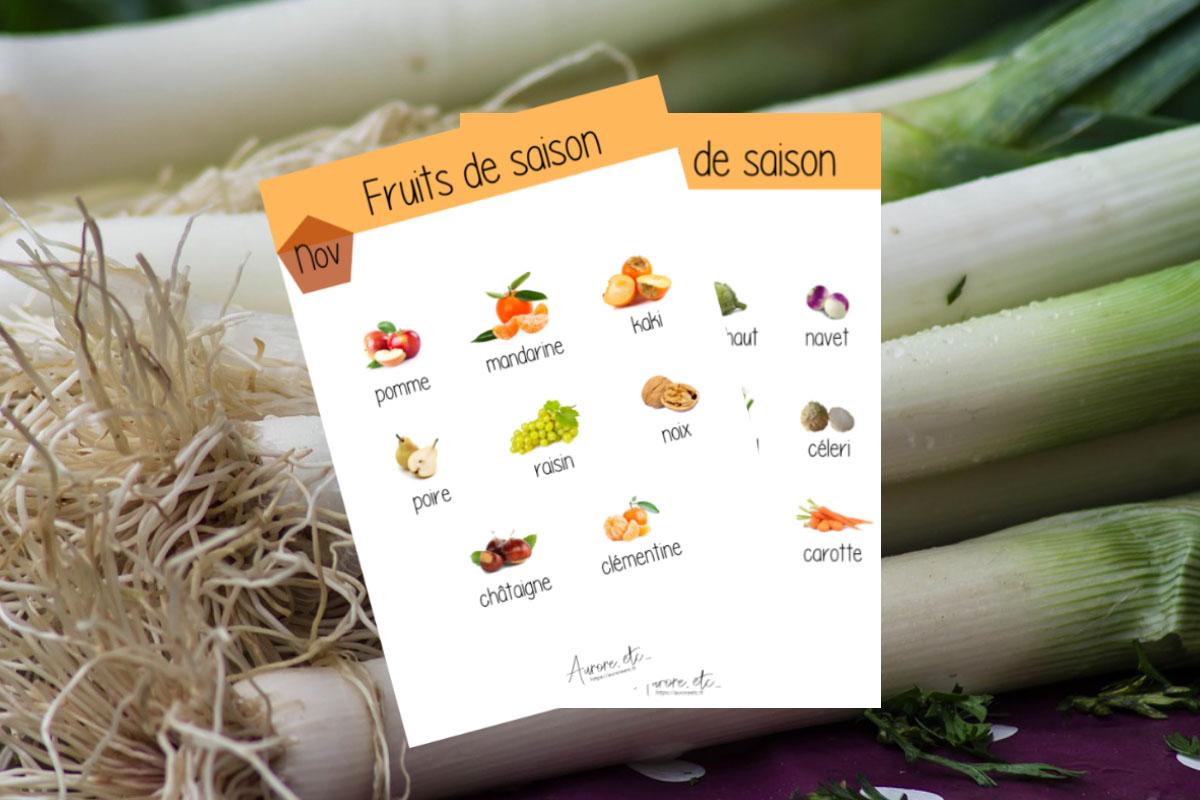Fiches mémo des fruits et légumes du mois de novembre à télécharger
