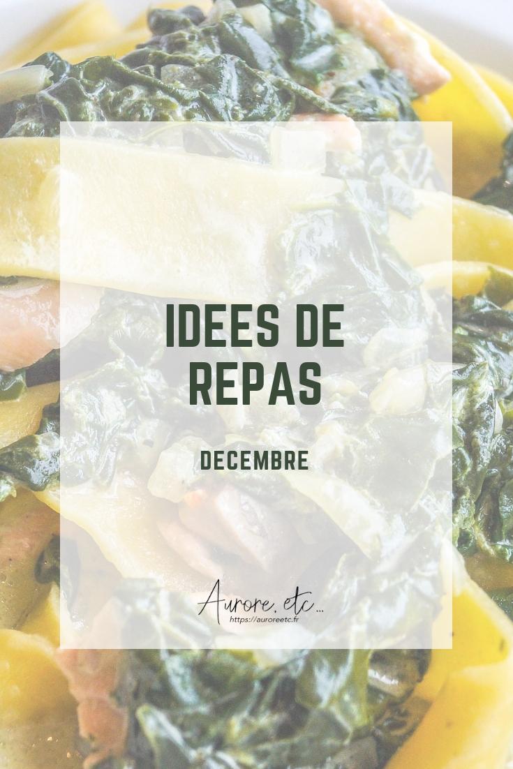 Idées de repas pour le mois de décembre avec fiches mémo des fruits et légumes du mois à télécharger