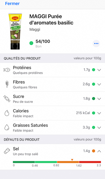 Composition de la purée d'aromates Maggi au basilic par l'application Yuka