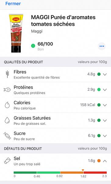 Composition de la purée d'aromates Maggi aux tomates séchées par l'application Yuka