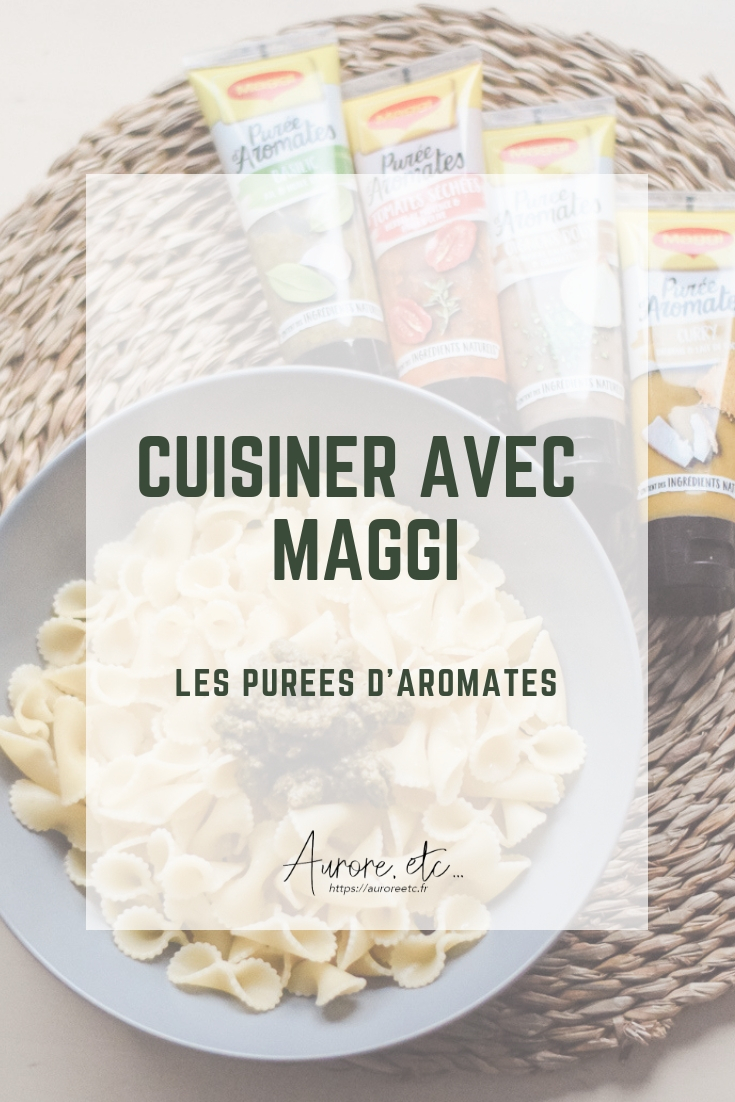 Assiette de pâtes avec de la purée d'aromates au basilic de chez Maggi