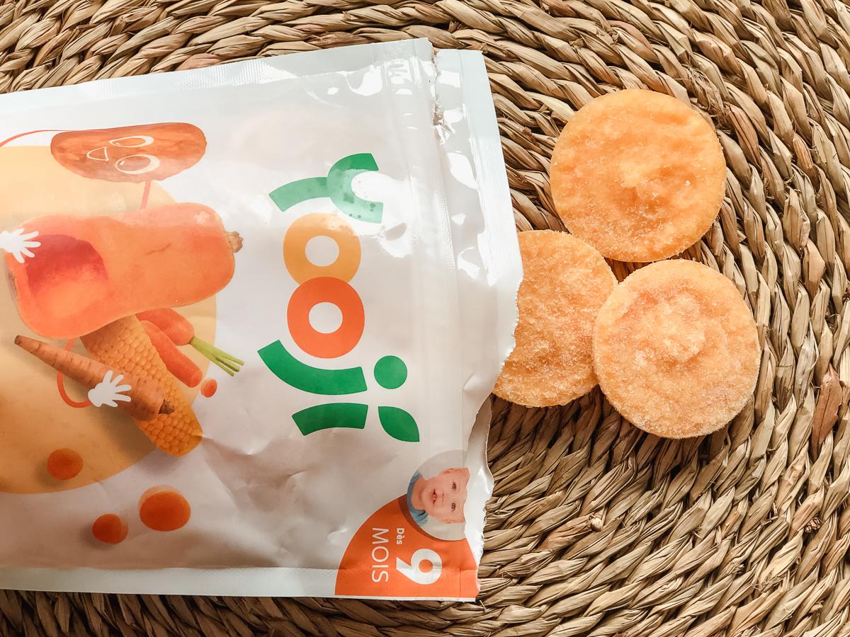 La diversification alimentaire de bébé avec Yooji, des palets surgelés de fruits et légumes Bio