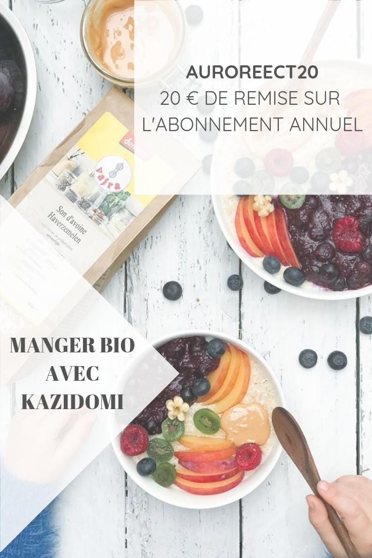 Manger bio sans se ruiner avec la boutique en ligne Kazidomi, avec un code promo de 20€ sur l'abonnement annuel