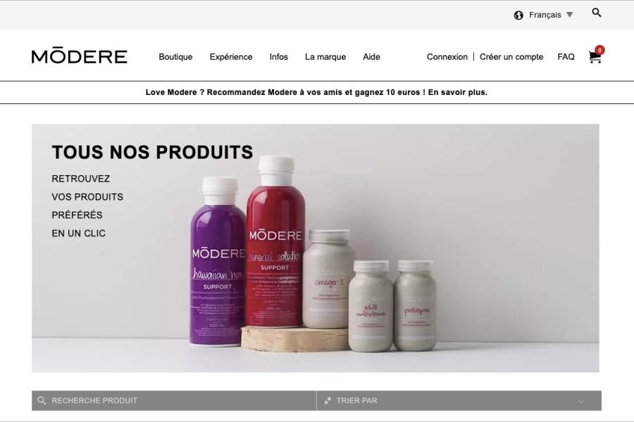Interface de ma boutique en ligne Mōdere