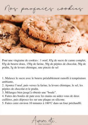 Fiche recette de cookies aux pépites de chocolat et pralin inratables faits maison à imprimer