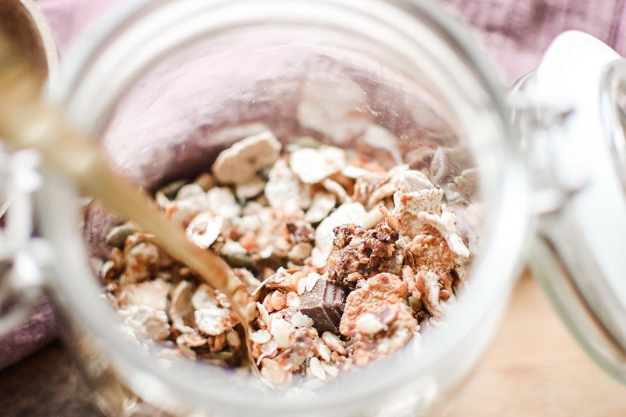 Granola gourmand au chocolat avec pépites de chocolat